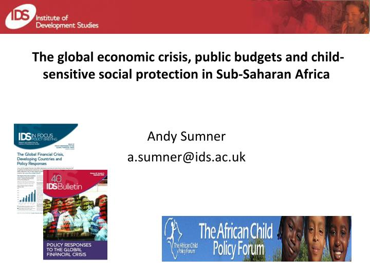 The global economic crisis, public budgets and child-sensitive social protection in Sub-Saharan Afr...