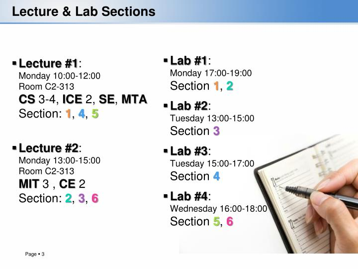 Lecture lab sections