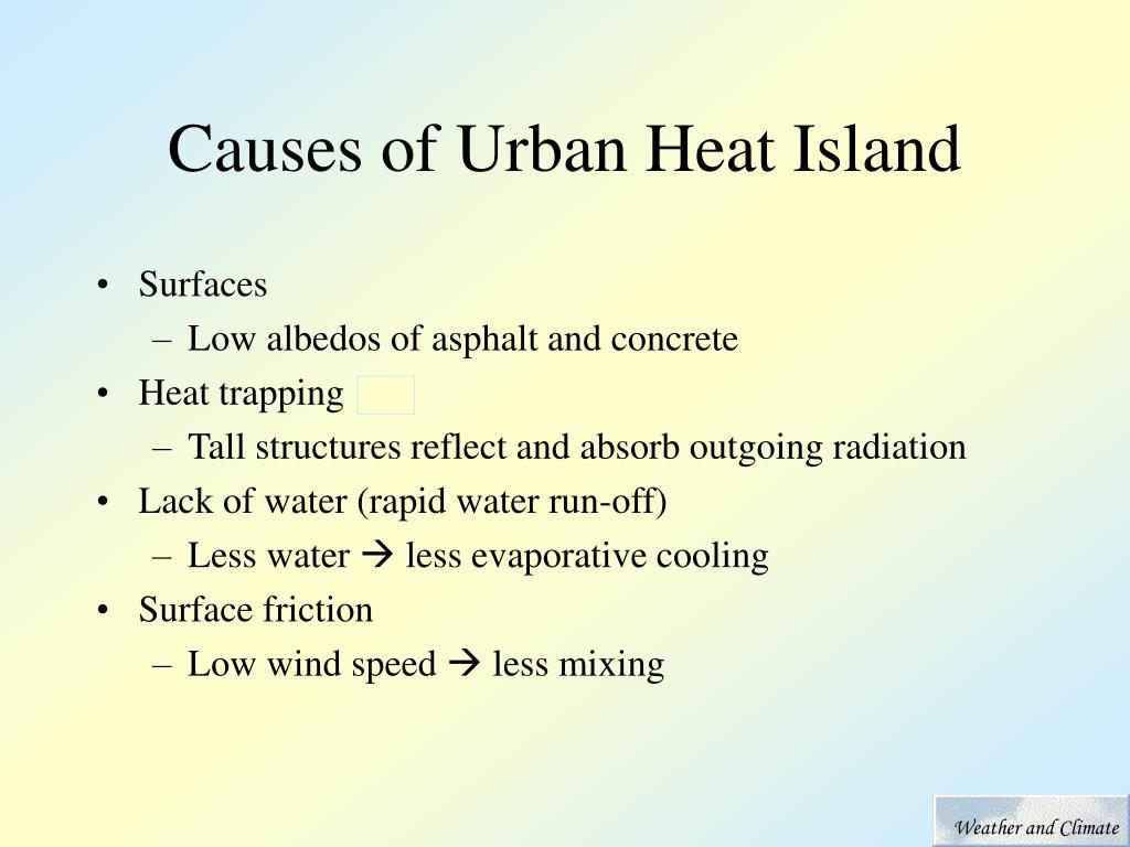 Causes of Urban Heat Island