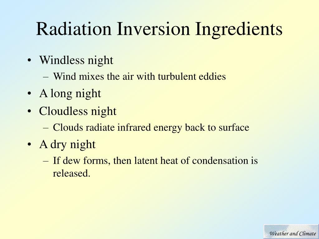 Radiation Inversion Ingredients