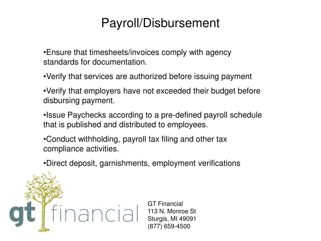 Payroll/Disbursement