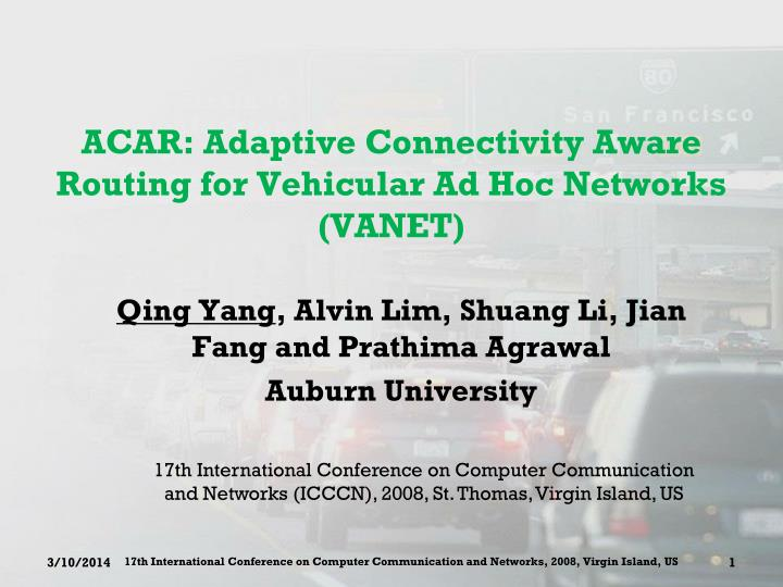 acar adaptive connectivity aware routing for vehicular ad hoc networks vanet n.