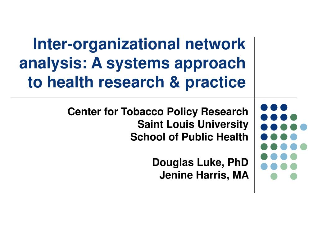 inter organizational network analysis a systems approach to health research practice l.