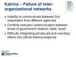 katrina failure of inter organizational networks