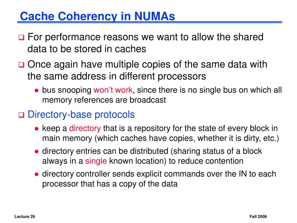 Cache Coherency in NUMAs