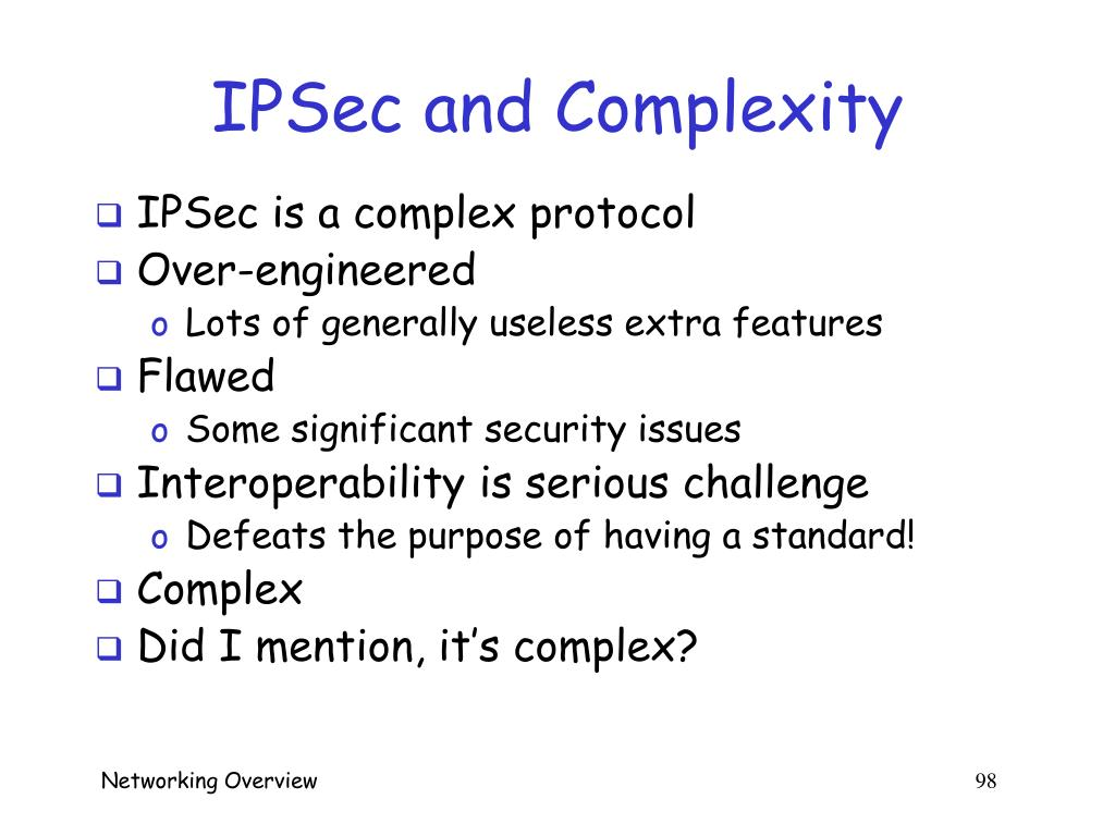 IPSec and Complexity