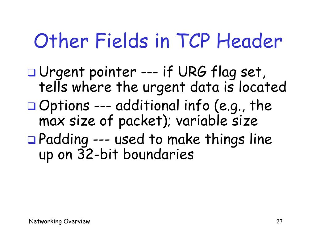 Other Fields in TCP Header