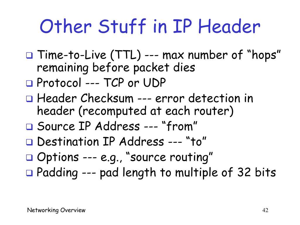 Other Stuff in IP Header