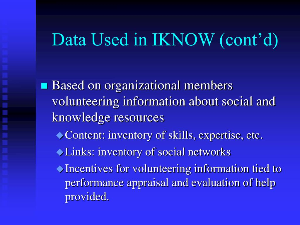 Data Used in IKNOW (cont'd)