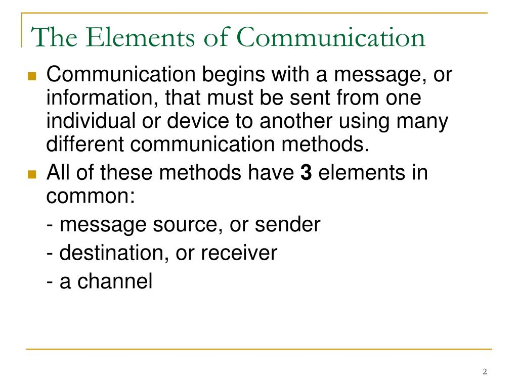 The Elements of Communication