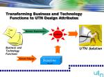 transforming business and technology functions to utn design attributes