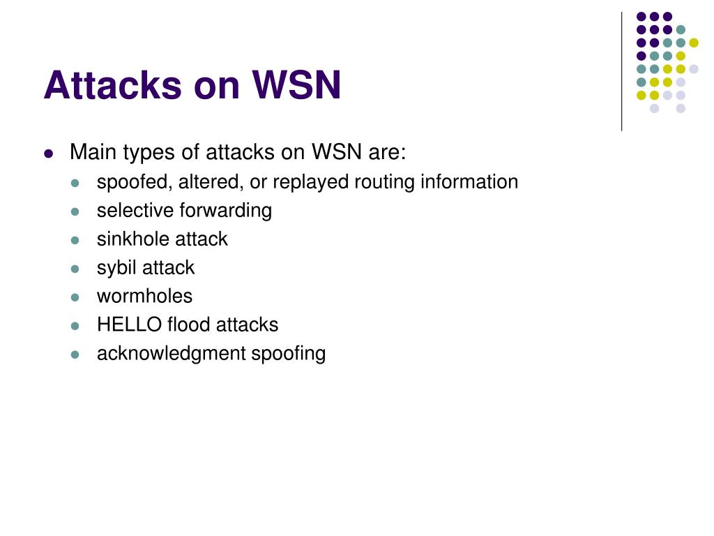 Attacks on WSN