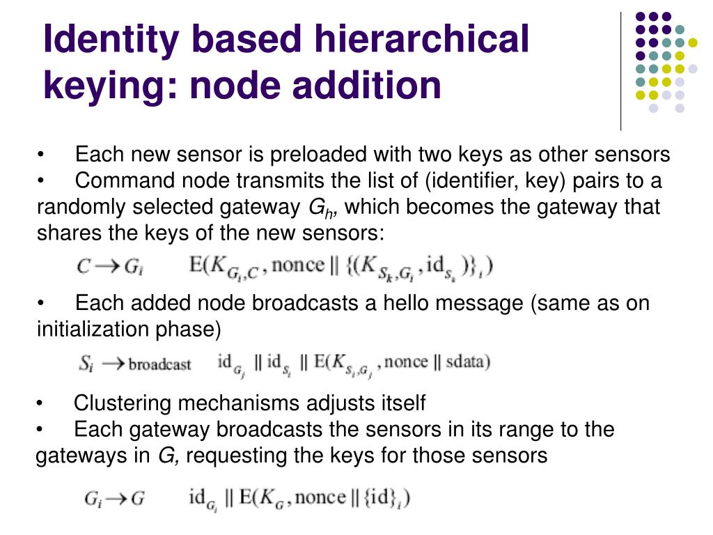 Identity based hierarchical keying: node addition