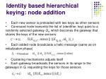 identity based hierarchical keying node addition