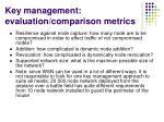 key management evaluation comparison metrics