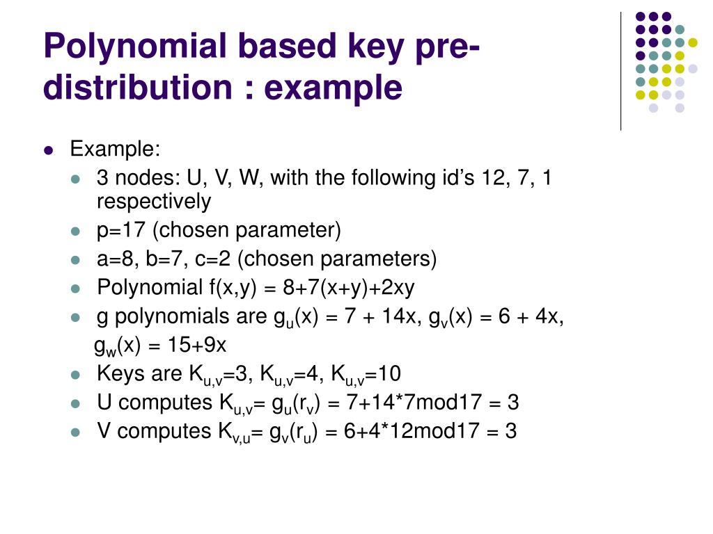 Polynomial based key pre-distribution : example