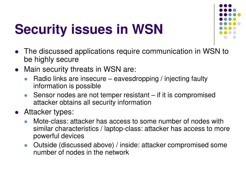 Security issues in WSN