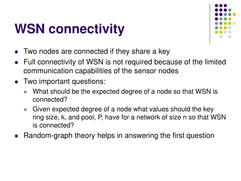 WSN connectivity