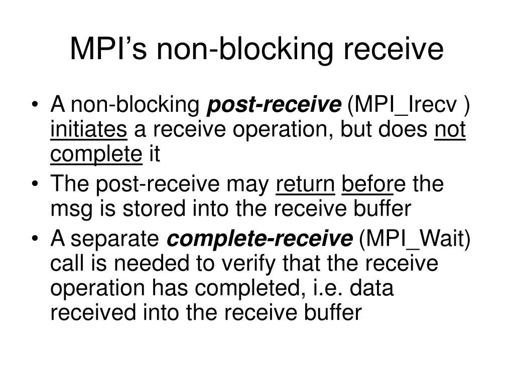MPI's non-blocking receive