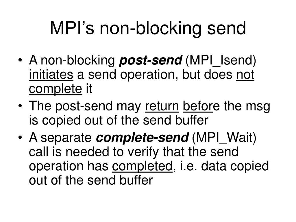 MPI's non-blocking send