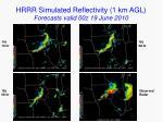 hrrr simulated reflectivity 1 km agl forecasts valid 00z 19 june 2010