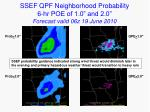 ssef qpf neighborhood probability 6 hr poe of 1 0 and 2 0 forecast valid 06z 19 june 2010