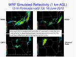wrf simulated reflectivity 1 km agl 13 hr forecasts valid 13z 18 june 2010