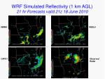 wrf simulated reflectivity 1 km agl 21 hr forecasts valid 21z 18 june 2010