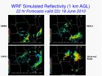 wrf simulated reflectivity 1 km agl 22 hr forecasts valid 22z 18 june 2010