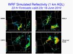 wrf simulated reflectivity 1 km agl 23 hr forecasts valid 23z 18 june 2010