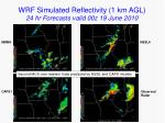 wrf simulated reflectivity 1 km agl 24 hr forecasts valid 00z 19 june 2010