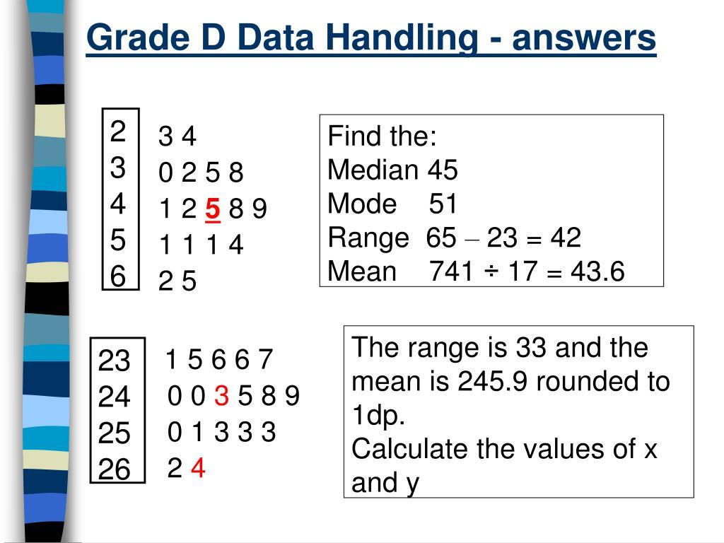 Grade D Data Handling - answers