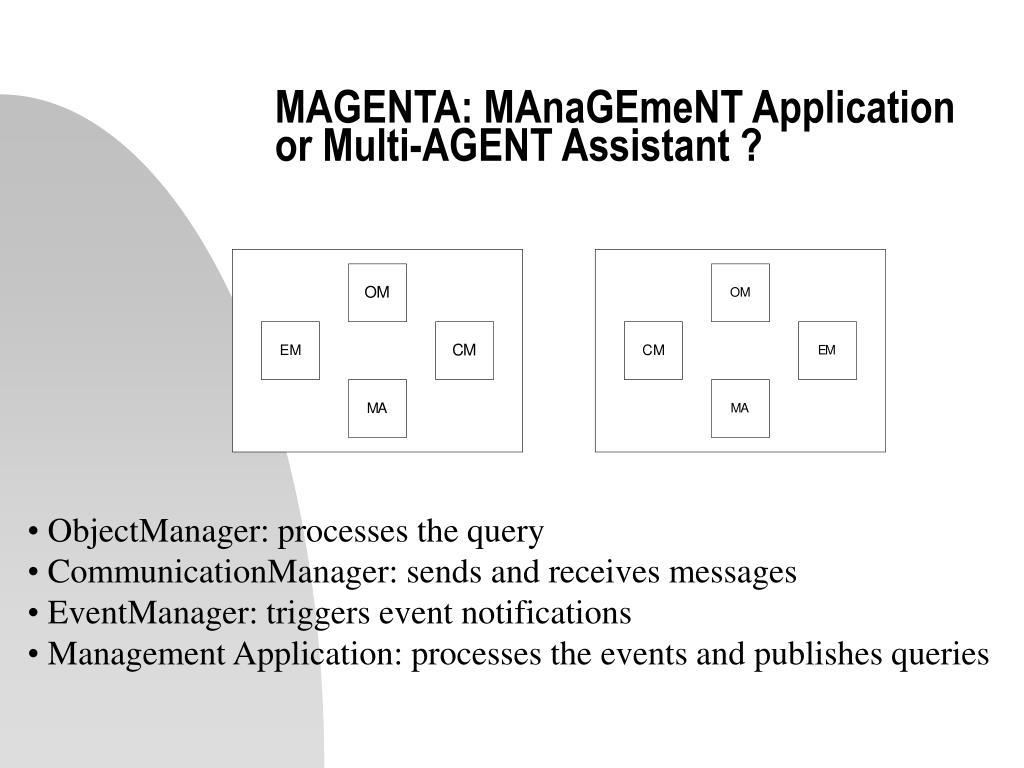 MAGENTA: MAnaGEmeNT Application or Multi-AGENT Assistant ?