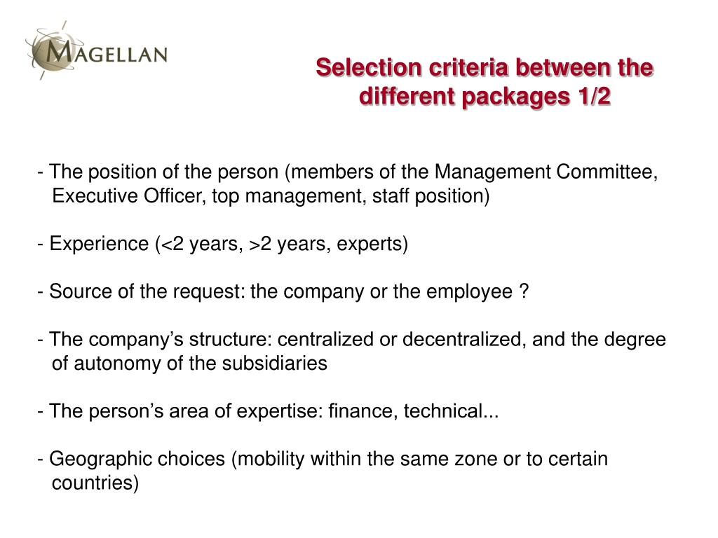 Selection criteria between the different packages 1/2