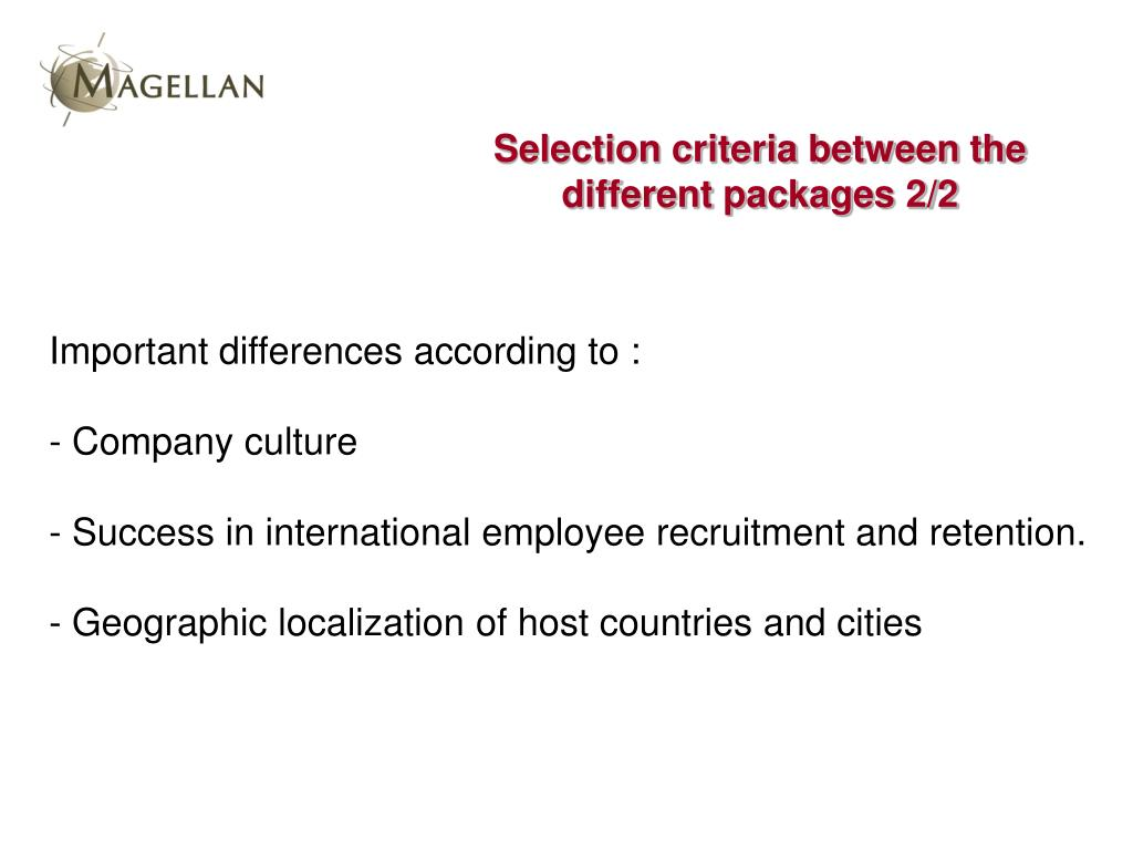 Selection criteria between the different packages 2/2
