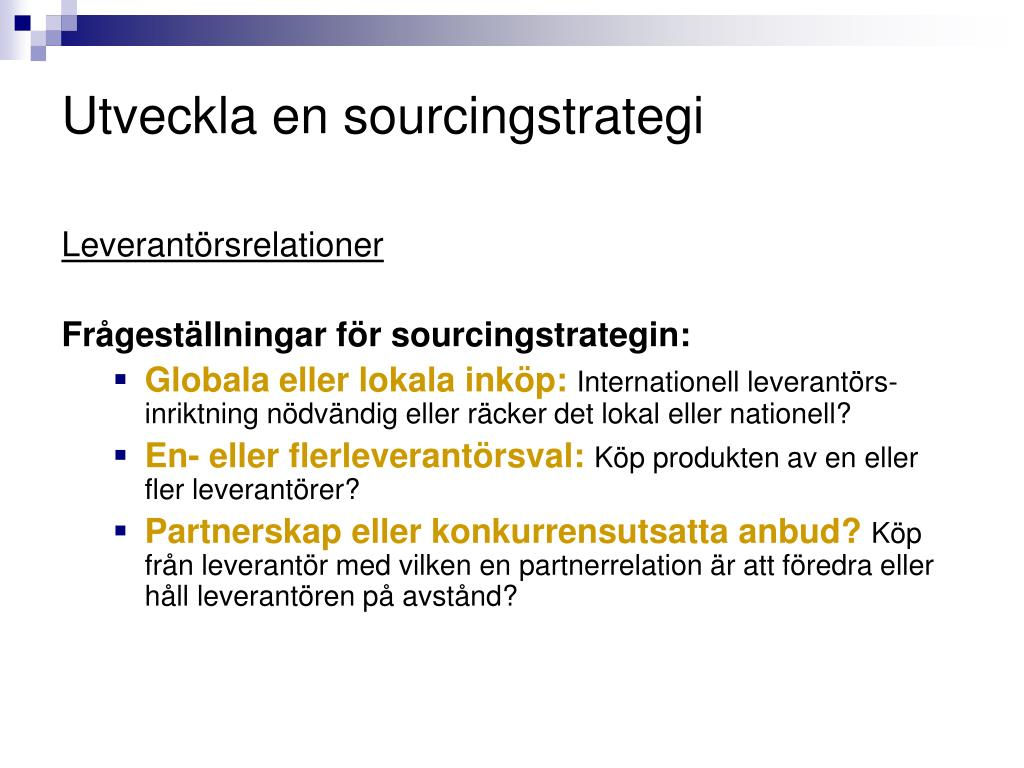 Utveckla en sourcingstrategi