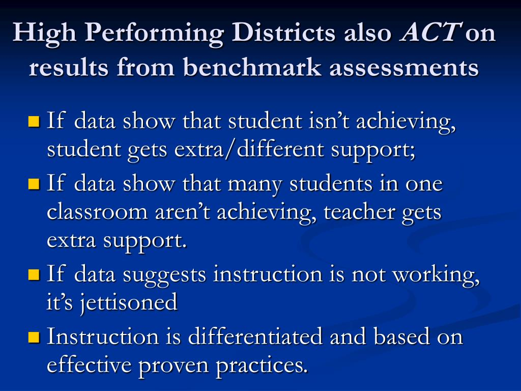 High Performing Districts also