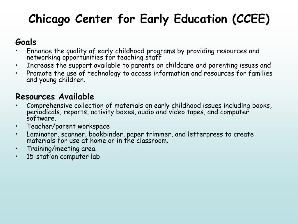 Chicago Center for Early Education (CCEE)