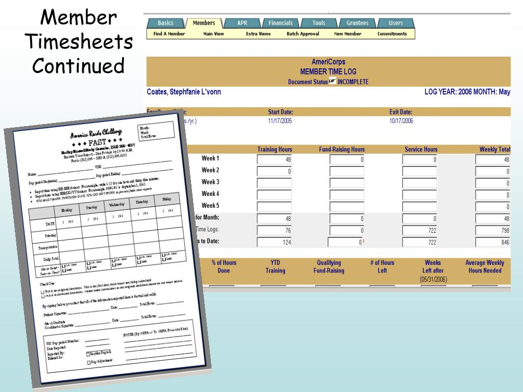 Member Timesheets Continued