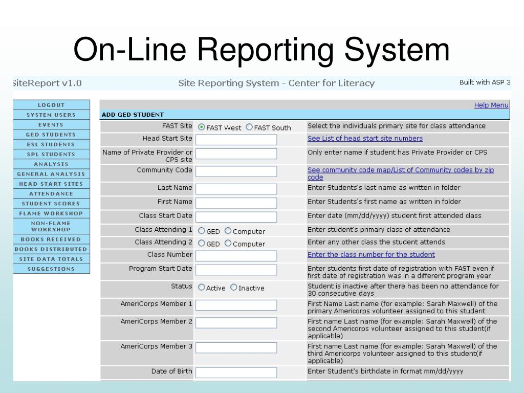 On-Line Reporting System
