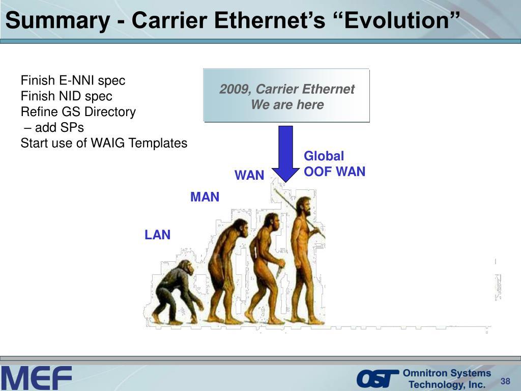 "Summary - Carrier Ethernet's ""Evolution"""