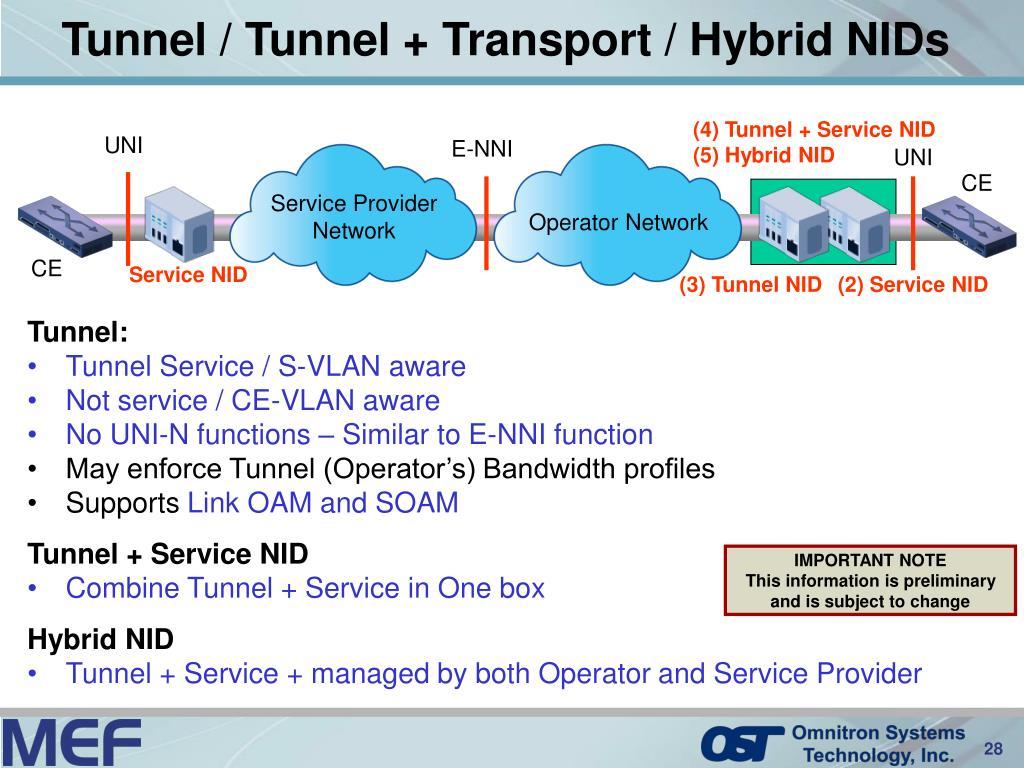 Tunnel / Tunnel + Transport / Hybrid NIDs