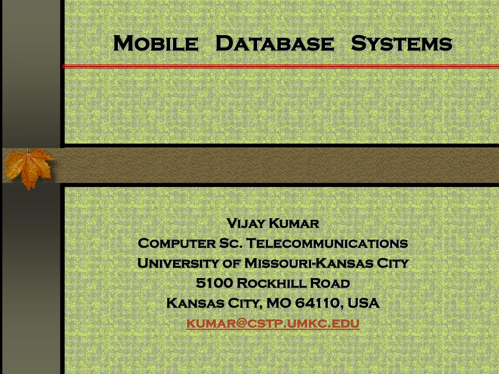 mobile database systems l.