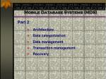 mobile database systems mds
