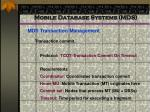 mobile database systems mds81