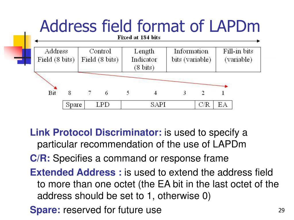 Address field format of LAPDm
