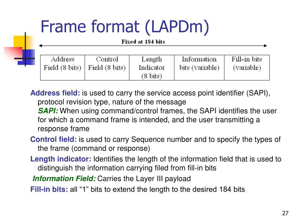 Frame format (LAPDm)