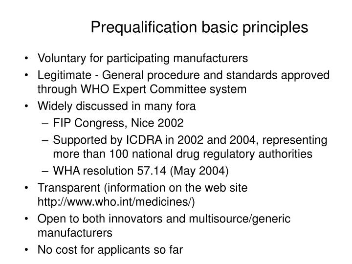 Prequalification basic principles