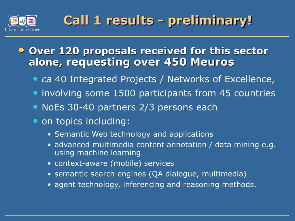 Call 1 results - preliminary!