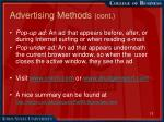 advertising methods cont